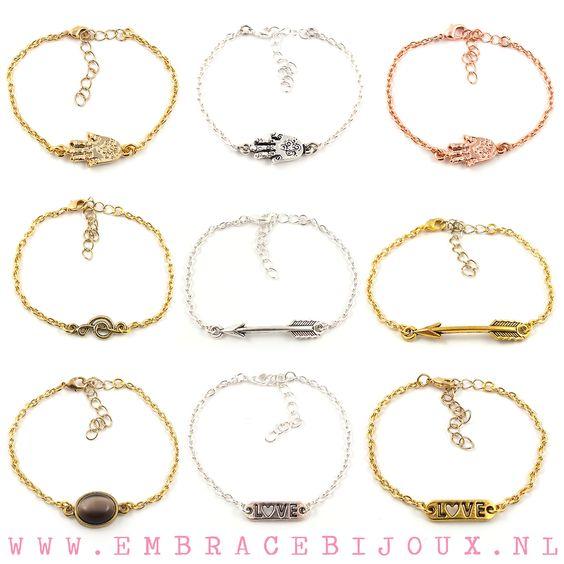 Blog - NIEUW! Fijne armbandjes met schakelketting #armcandy #fashion #sieraden #jewelry #jewellery #hamsa #arrow #pijl #love #armband