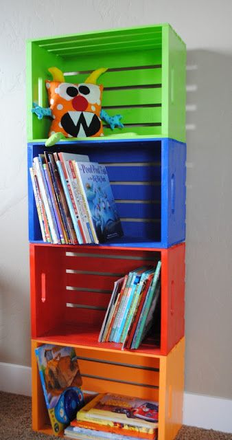 Painted Crates for the toy room area. for kids' rooms. purple and pink against white wall for girls. blue and green against white wall for boys.: