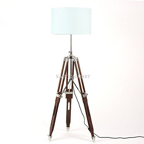 Nautical Tripod Wooden Floor Lamp Base Only Natural Finis Https