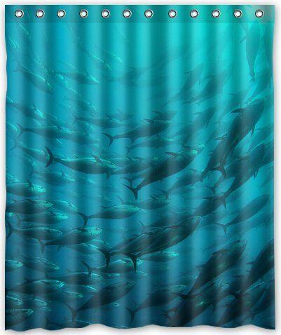 Curtains Ideas 60 wide curtains : Tunas Blue Tuna fish Shower Curtain Bathroom Shower Curtains ...