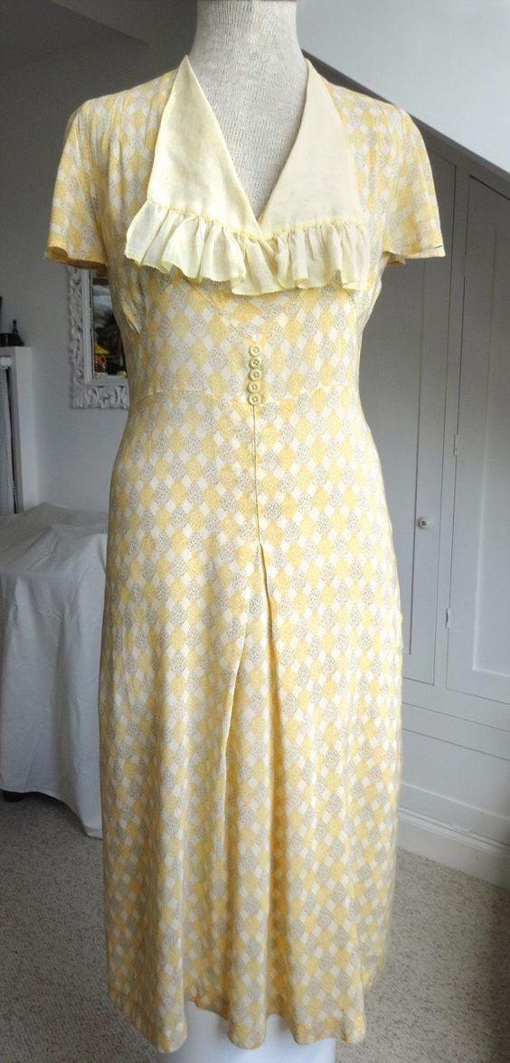 Authentic 1930s Vintage Summer Dress S - Delicate cotton print ...
