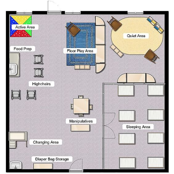 Infant class layout classroom layout pinterest plays for Room design map