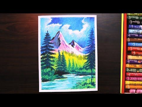 Drawing Of Nature For Beginners Drawing Of Mountain Landscape With Oil Pastel Step By Step Youtube Oil Pastel Drawings Oil Pastel Paintings Oil Pastel Art