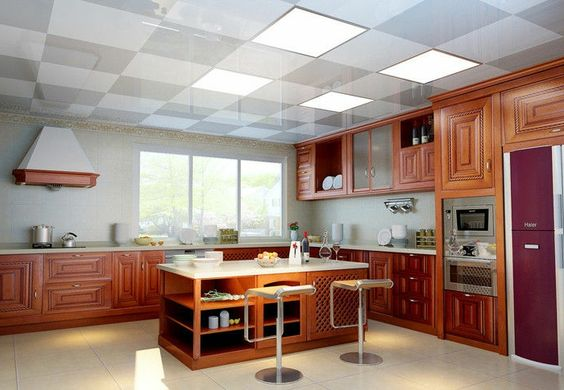 dalle faux plafond dans la cuisine chic, cuisine à l américaine