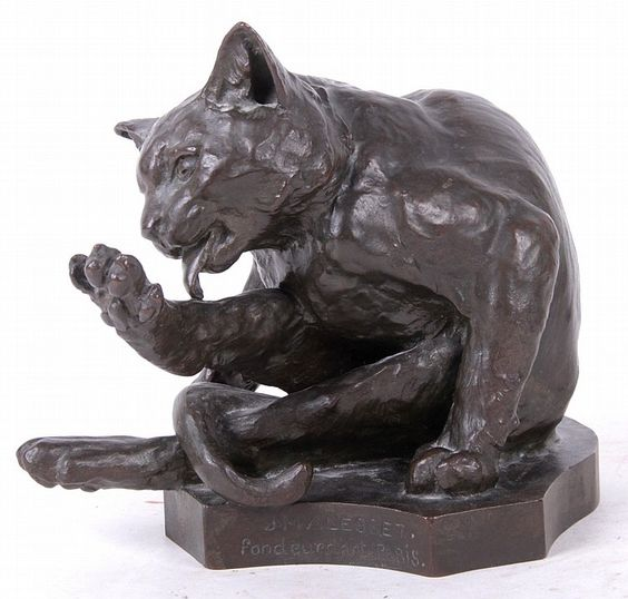 Bronze Cat Sculpture by Georges Lucien Guyot (French, 1885-1973)