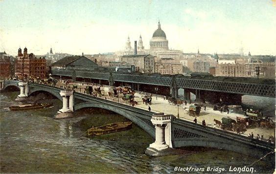 London, Blackfriar's Bridge: Vintage Postcards, Blackfriar S Bridge, Bridge 1907, Uk Vintage, London Blackfriar S, London Bridges
