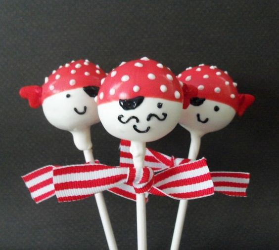 Pirate cake pops....made some just like these for Jake's b-day. They are easy but you really have to work fast when the melted candy is soft
