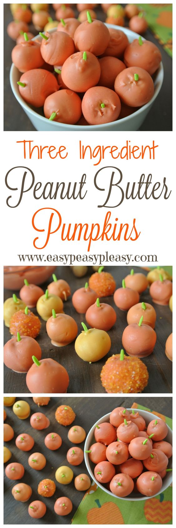 Easy 3 ingredient Peanut Butter Pumpkins Recipe and Tutorial | Easy Peasy Pleasy #falldesserts #winterdesserts #christmasdesserts #thanksgivingdesserts #partydesserts #holidaydesserts #pumpkindesserts
