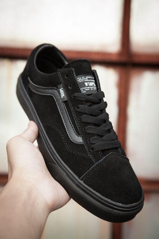 Vans X Vault X Watps Suede Old Skool Classic All Black Mens Shoes Vans Black Shoes Men Vans Vans Old Skool