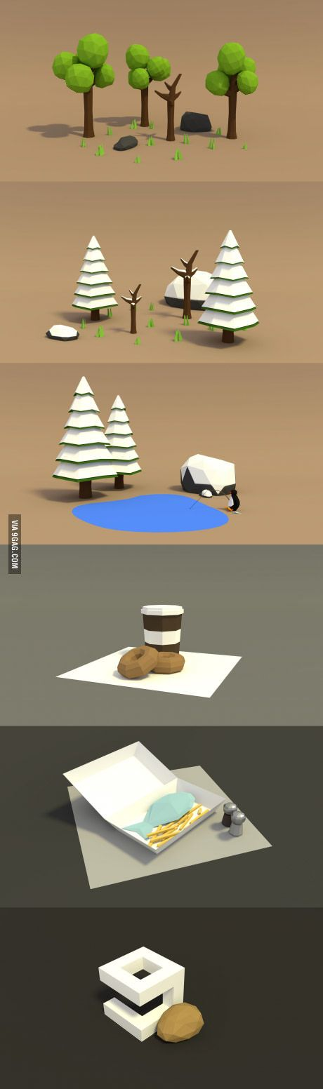 I've just started doing simple, low poly scenes. This is what I've done so far.