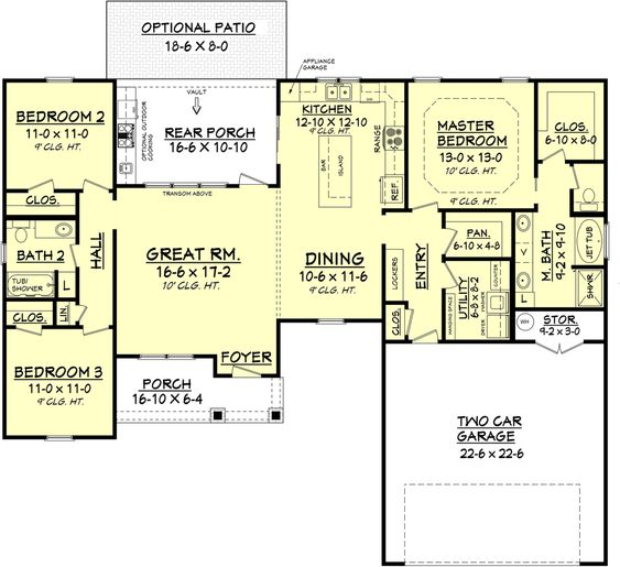 style house plan   3 beds 2 baths 1609 sq ft plan 430 77 floor plan