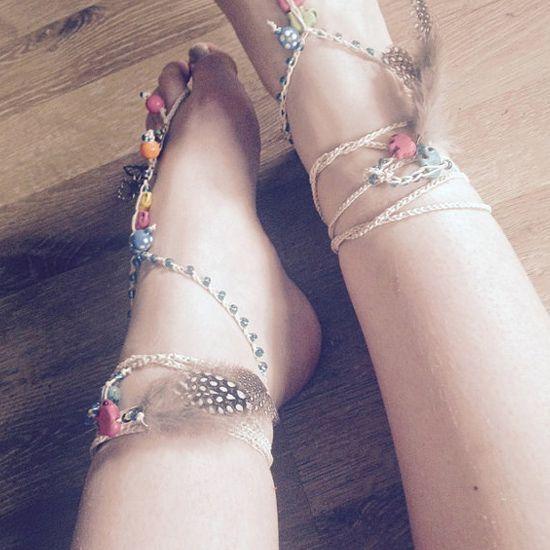 Boho Summer Festival Crochet Elephant Barefoot Sandals