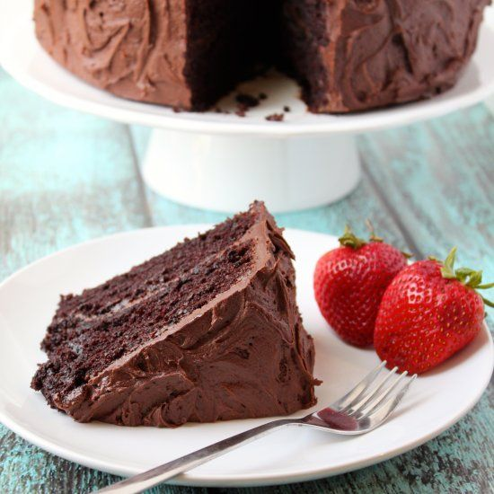 This simple chocolate layer cake is so easy to make, so moist and tender, and unbelievably delicious!