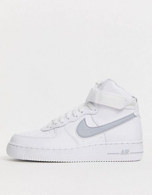 Nike Air Force 1 High '07 trainers in white with grey swoosh