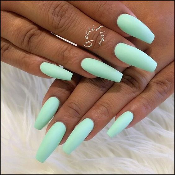 60 Pretty Acrylic Coffin Nails For Summer 2020 Mint Nails Best Acrylic Nails Summer Acrylic Nails