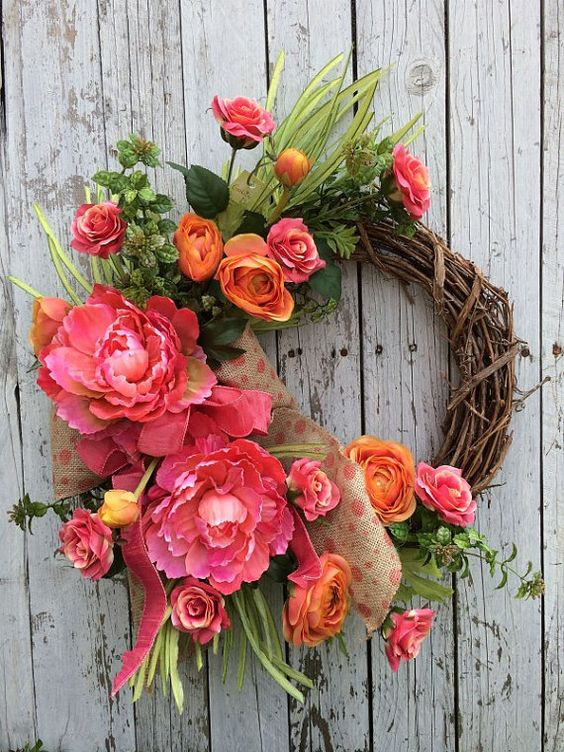 Summer wreath summer decor bright color floral by for Colorful summer wreaths