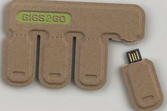 GIGS2GO is a small set of four disposable storage devices made from post-consumer paper.