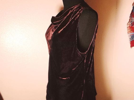 large brown velvet 90's blouse top  by LittleVixensVintage on Etsy