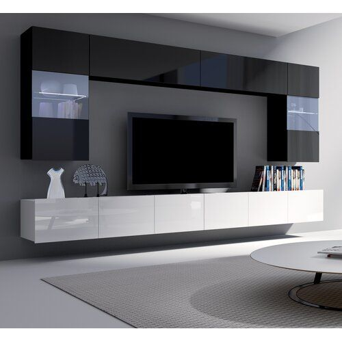 Yareli Entertainment Unit For Tvs Up To 75 Wade Logan Colour Black Gloss White Gloss Living Room Tv Unit Designs Modern Tv Room Living Room Tv Unit