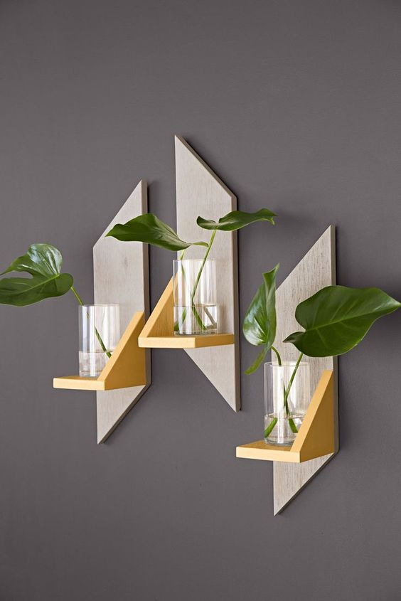 Wall Sconces With Plants : Make a set of attractive wooden wall sconces from a single board. Then add LED candles, plants ...