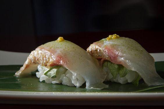 Tai nigiri made with Japanese sea bream. #ChronicleTop100