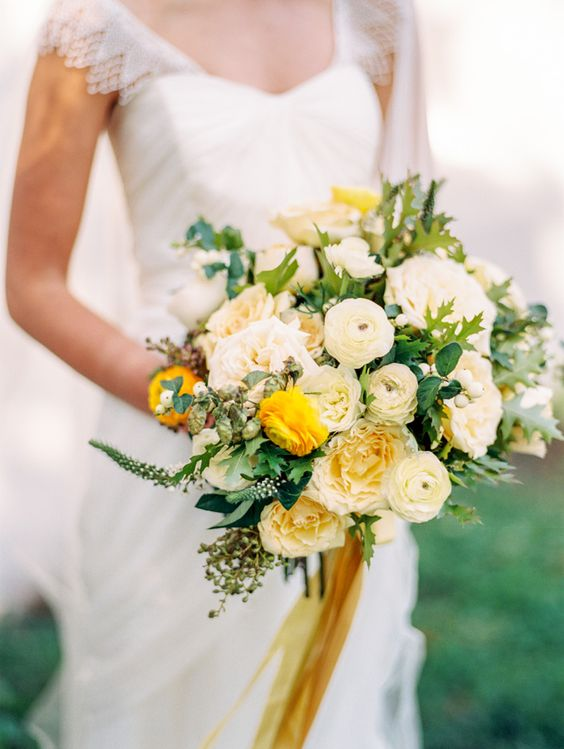 #gold ribbon bouquet #yellow and white   floral design by Lisa Collins & Jordana Masi for SWEET WOODRUFF