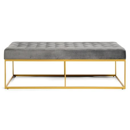 Sitzbank Samt 122x43x47cm Gold Steel Furniture Furniture Home