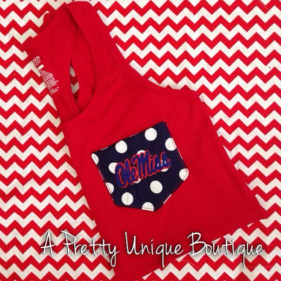 Ole Miss pocket tank top by Sayruhsboutique on Etsy, $20.00