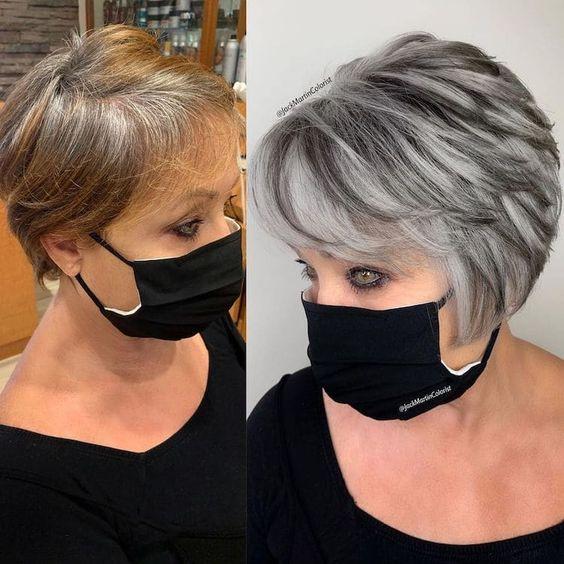 short gray inverted short and medium length haircut