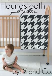 houndstooth quilt PDF pattern (baby and larger version included) - seems to be the popular pattern for a houndstooth quilt ($9.00) - I also pinned a tutorial for a free version of this