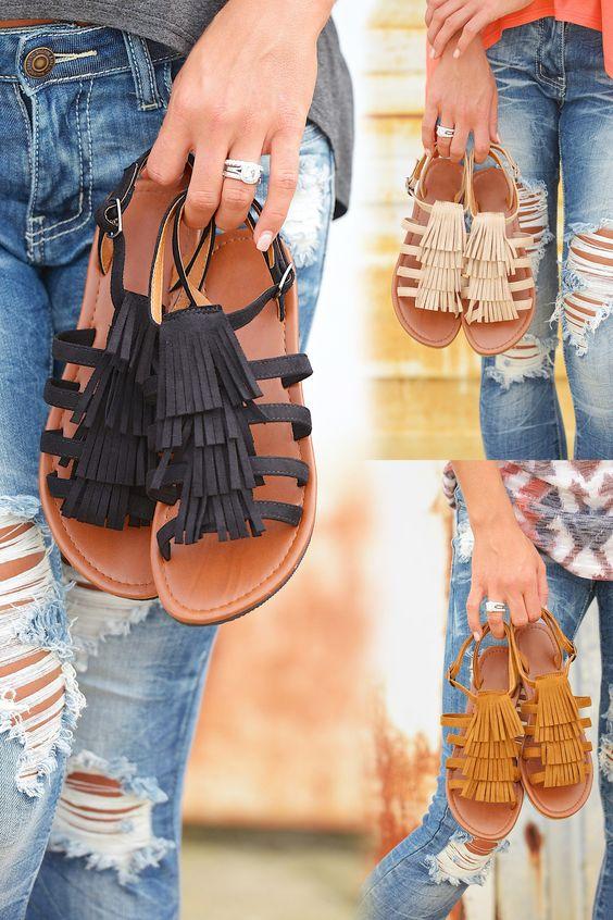 Colors of the Wind Fringe Sandals