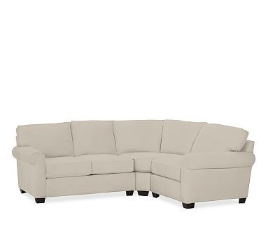 Buchanan Roll Arm Upholstered Left Arm 3-Piece Sectional, Polyester Wrapped Cushions, Brushed Canvas Stone