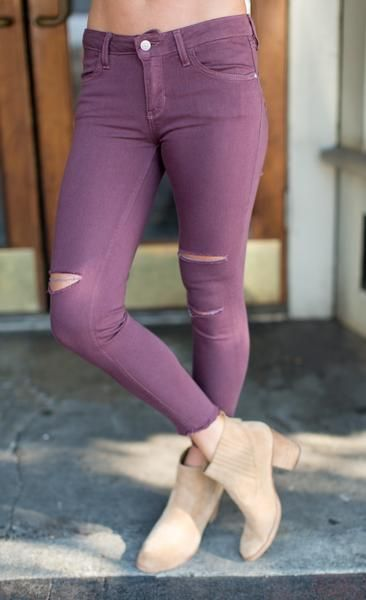 Ripped Moscato Jeans. Colored jeans are back and can take any outfit to the next level.