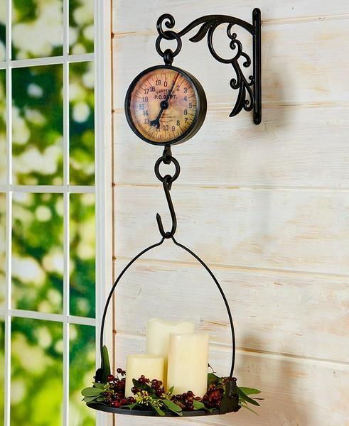 Hanging Kitchen Scale Wall Clock Vintage Look Decorative Antique Farmhouse Decor