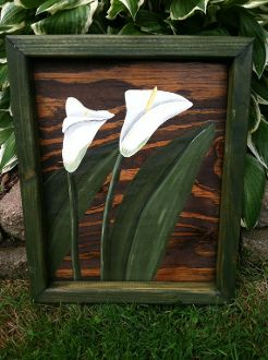 Calla Lillies, Acrylic on Pallet Wood w/ Hand Made Frame