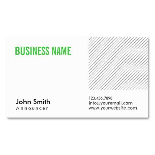 modern green title announcer business card radiotelevision announcer business cards pinterest business cards - Business Card Titles