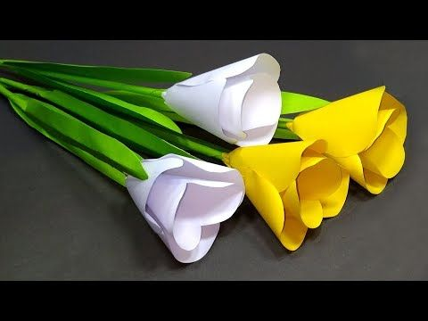 How To Make Paper Tulip Flower Easy Making Diy Tulip Flower At Home Jarine S Crafty Creation Paper Flowers Craft Paper Flower Tutorial Paper Flowers Diy