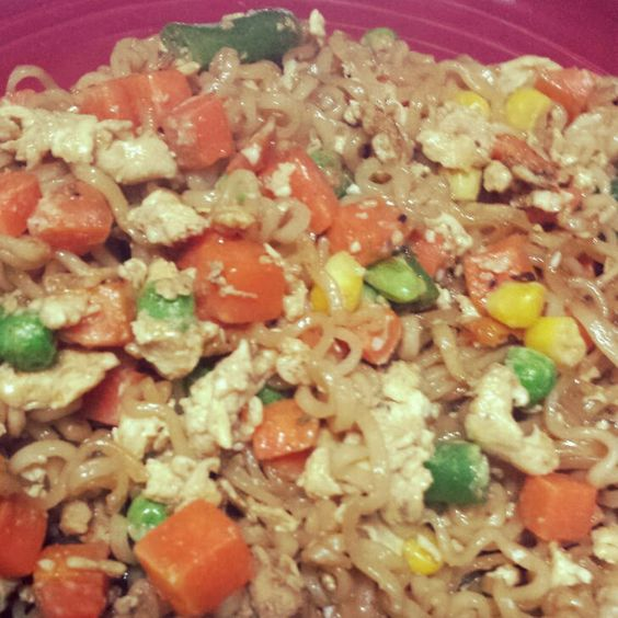 Ramen Noodle Stir Fry (Cheap & Easy Dinners) Recipe Main Dishes with boneless skinless chicken breasts, ramen noodles, soy, worcestershire sauce, minced garlic, veggies, eggs, cooking oil, seasoning salt