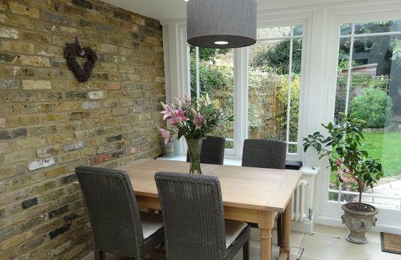 #kitchendesign, #paintedkitchen, #paintedfurnture #BrickWall, kitchen design Barnes thedecorcafe.com