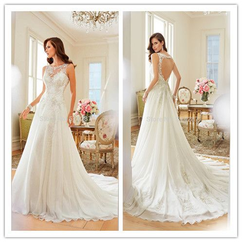 Vestido de noiva bordado Bridal dress 2015A Line Scoop Sleeveless floor length Court train Chiffon with Embroidery wedding dress