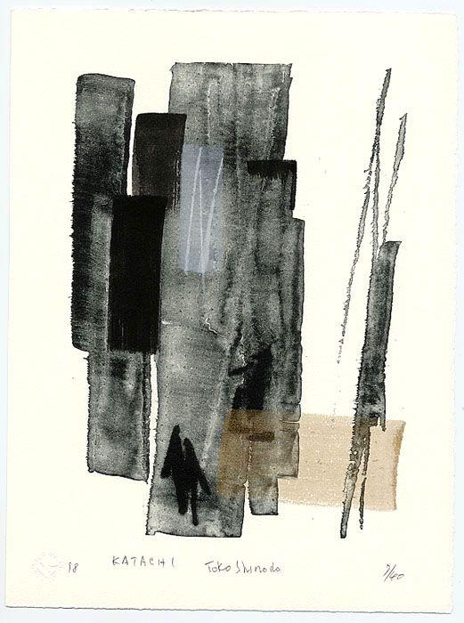 "dailyartjournal: Toko Shinoda, ""Katachi"", lithograph with sumi-e brushstrokes"