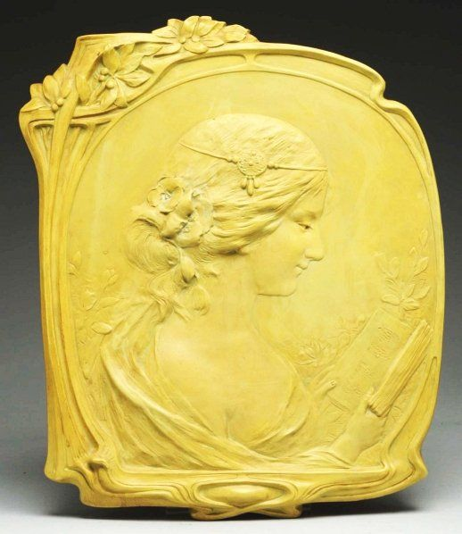 Amphora Art Nouveau Wall Plaque, lady with iris, Ernst Wahliss, 16 ...