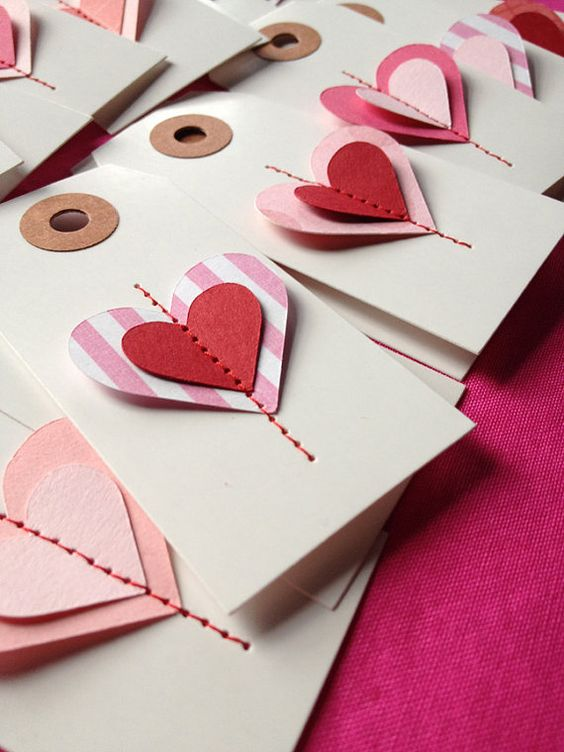 5 Valentine Hearts Gift Tags  3 1/4 x 1 5/8 by LaurenHonakerDesign