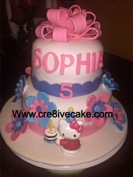 Hello kitty fondant cake by cre8ivecake