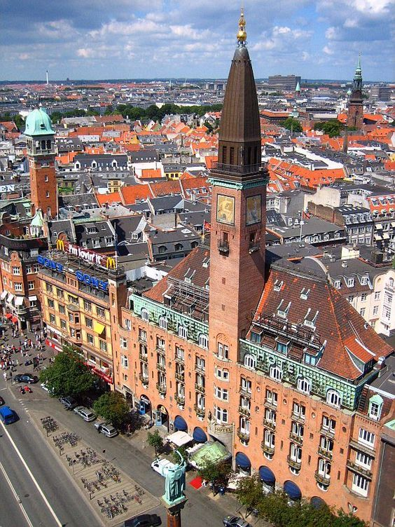 Copenhagen, Denmark. Beautiful city. I was so taken with the green patina of all the copper-roofed towers.
