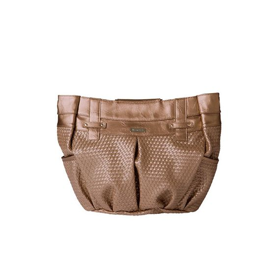 *Miche Canada* Sparkle and shine! The Rebekah for Demi Miche bags will be the focal point of every outfit. Embossed woven faux leather with geometric accents and rivet details in brilliant metallic champagne features warm rosy undertones. This design is breathtaking and utterly unforgettable. Side pockets. Oval-bottom design.
