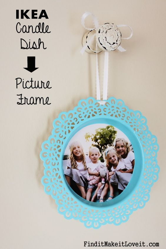Ikea candle dish turned picture frame! The cost a whole $2.00! Easy, inexpensive wall décor idea.