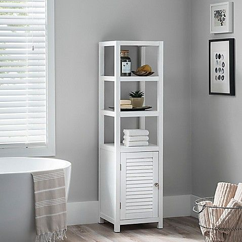 Drift 3 Shelf Wood Tower Cabinet In White Tall Cabinet Storage Bed Bath And Beyond Cabinet