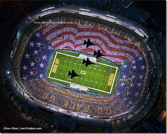 """Lambeau Field - home of the Green Bay Packers. Flyover for """"Salute to Veterans"""" on November 14, 2011."""