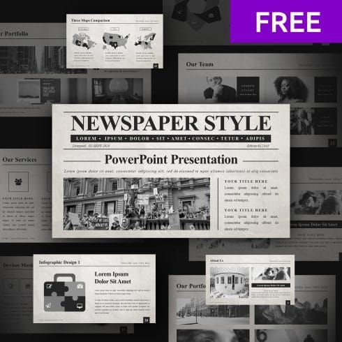 5 Free Newspaper Google Slides Template In 2020 Master Bundles Newspaper Template Newspaper Template Powerpoint Powerpoint Background Design